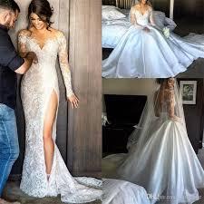 side split lace wedding dresses with detachable skirt sheath