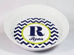 personalized dinnerware chevron personalized melamine dinnerware set plate bowl or cup