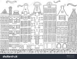 coloring amsterdam netherlands coloring page stock vector