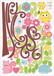 wall stickers kid bedroom wallpaper night flower tree decalkits 50 70cm cute owl tree peel stick wall