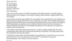 sample dental assistant cover letter