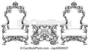 vectors of rich baroque rococo armchair and table set