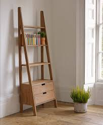 natural polished teak wood rustic wall ladder bookshelf having