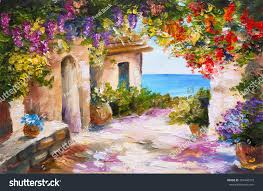 oil painting house near sea colorful stock illustration 287446373