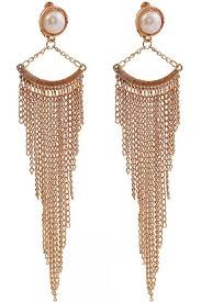stylish earrings imitation pearl chain tassel stylish earrings fashion earrings
