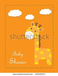 baby shower giraffe baby shower giraffe girl card stock vector 232420117