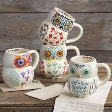 folk owl mugs from
