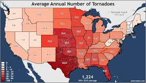 Can You Show Me A Map Of The United States Annual And Monthly Tornado Averages For Each State Maps U S