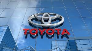 toyota logo editorial toyota logo on glass building motion background
