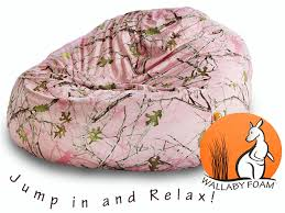 wallaby foam filled pink camo bean bag chair bailey u0027s furniture