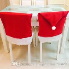 Christmas Decoration Wholesale Lebanon by Christmas Chair Covers Santa Clause Red Hat For Dinner Decor Home