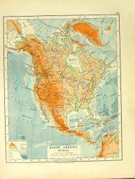 Physical Map North America by 14 Print 1918 Physical Map North America Dominion Canada Hudson