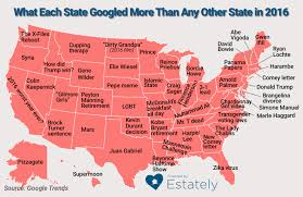 Hollywood Usa Map by What Each State Googled More Frequently Than Any Other State In