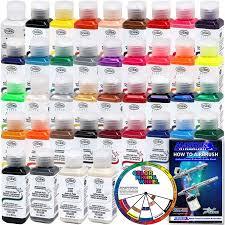 complete 38 color testors aztek premium acrylic airbrush paint set