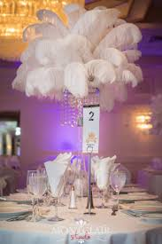 wedding centerpiece rentals nj white ostrich feather with chandelier centerpieces by