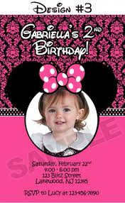 minnie mouse damask dots birthday party photo invitations