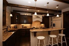 Dark Kitchen Countertops - kitchen dark brown cabinets white red gloss colors cabinets suqre