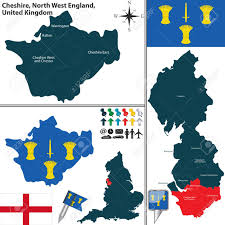 Blackburn Flags Vector Map Of Cheshire In North West England United Kingdom