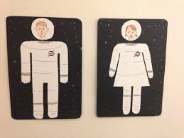his and her bathroom astronaut his and her bathroom signs white elephant creations