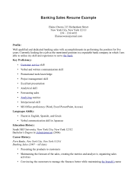 Personal Profile In Resume Example by Banking Profile Resume Resume For Your Job Application