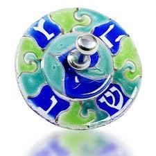 glass dreidel dreidel glass fusion with blue wave