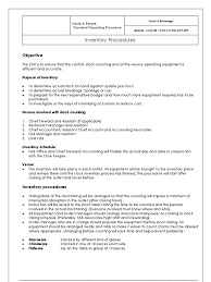 Best Resume For Storekeeper by Dhr Co Fbs Sop 009 Inventory Procedures Inventory Business
