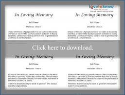 Sample Memorial Programs Free Obituary Templates