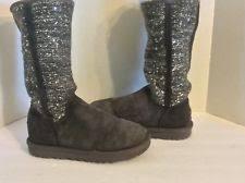 ugg womens lyla boots charcoal ugg australia lyla sequin suede knit charcoal boots size 9 ebay