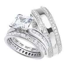wedding sets for him and his and wedding rings set sterling silver wedding bands for