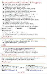 Hobbies And Interests On A Resume Examples by Learning Support Assistant Cv Example Tips And Download U2013 Cv Plaza