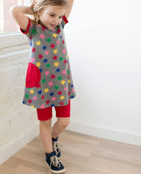 child in french circle pocket dress in french terry