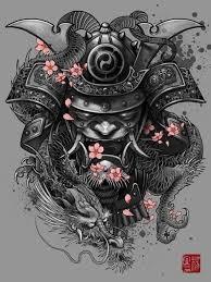 attractive black ink 3d samurai skull with dragon tattoo design