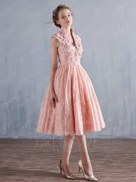 lace applique sleeveless v neck a line tea length prom dress