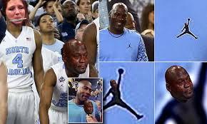 Unc Basketball Meme - sad michael jordan meme erupts on twitter after north carolina
