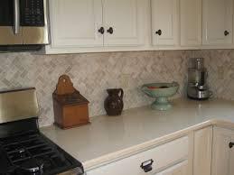 kitchen design ideas cream herringbone stone mosaic kitchen