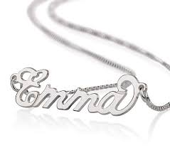 name necklaces silver small carrie style name necklace in sterling silver