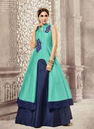 green and navy blue color silk embroidered indo western suit