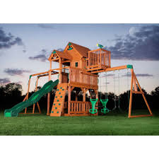 details about new big 9 kid cedar wood fort playground slide
