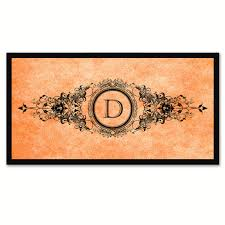 alphabet initial typography letter kids bedroom wall art home alphabet letter d orange canvas print black frame kids bedroom wall decor home art