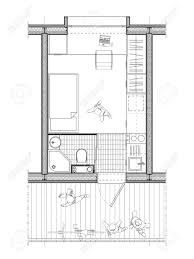square meters technical architect drawing of a plan of a student room of 9