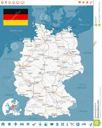 Germany Map by Germany Map Flag Navigation Labels Roads Illustration Stock