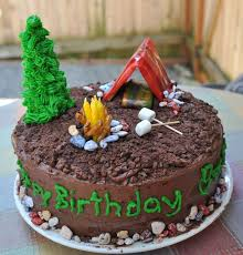 camping theme boys 9th birthday party camping cake kids