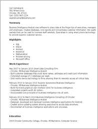 Business Intelligence Analyst Resume Business Intelligence Consultant Cover Letter