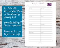 a5 planner printable weekly meal plan template meal planning