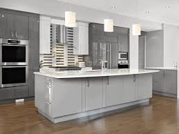 grey kitchen cabinets sleek white granite countertop simple round