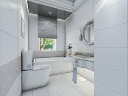 contemporary white bathroom design with glazed ceramic tile