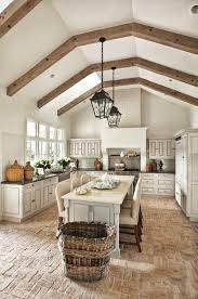 Wood Floor In Kitchen by Best 25 Brick Floor Kitchen Ideas On Pinterest Wood Cabinets