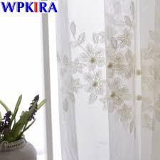 voilage pour cuisine moderne élégante perle brodé blanc tulle rideaux pour salon voilages pour