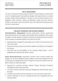 Operations Management Resume Examples Retail Management Resume Samples Retail Management Resume Example