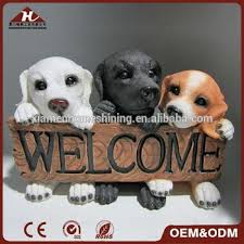 funny welcome funny resin dog with welcome sign statue for home decoration buy